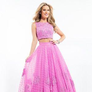 Rachel Allan Pink Two-Piece Prom Dress